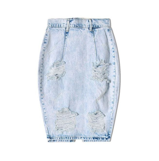 dcc8e48faa Women's Distressed Back V Cut Denim Skirt | RebelsMarket