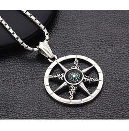 Gothic Titanium Steel Gothic Punk Pendent Astrolabe Necklace N0421004
