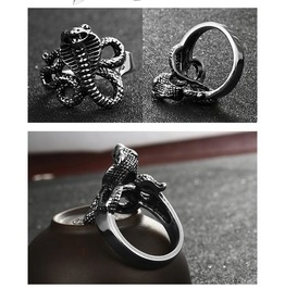 Gothic Titanium Steel Gothic Punk Snake Rings Xpr10143