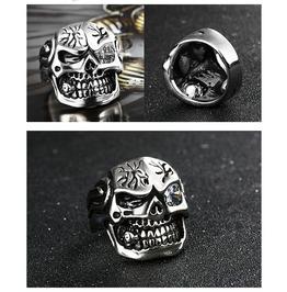 Gothic Titanium Steel Gothic Punk Skull Rings Xpr10158