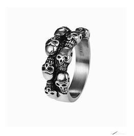 Gothic Titanium Steel Gothic Punk Skulls Rings Xpr10152