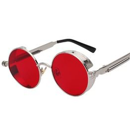Steampunk gothic round flash lens mirrored sunglasses sunglasses