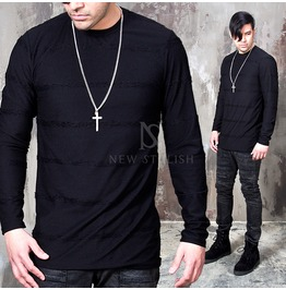 Distressed Stripe Line Black Shirts 656