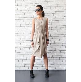 Beige Short Casual Dress/Sleeveless Summer Everyday Dress/Long Loose Tunic