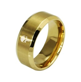 The Punish Er Ring Band ~ 8 Mm Gold, Titanium & Stainless Steel