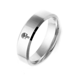 The Punish Er Ring Band ~ 8 Mm Silver, Titanium & Stainless Steel