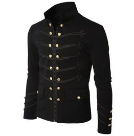 Gothic black military napoleon hook jacket 100 cotton black lace trim jacke jackets