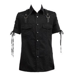 Punk Rave Mens Gothic Steampunk Rock Industrial Military Black Top Shirt