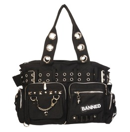 Banned Apparel Handcuff Shoulder Bag Canvas Handbag Rockabilly Gothic