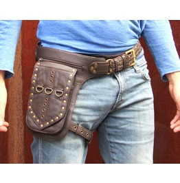One Leaf Leather Holster Utility Belt Thigh Bag In Rugged Brown