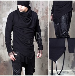 Hang Strap Accent Black Turtle Neck Shirts 658