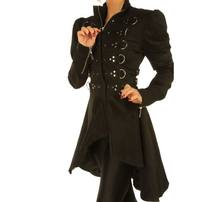 c76f8e94422 Black Steampunk Women Coat Gothic Ladies Jacket Top With Studs