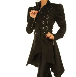 0607e6bb4b1 Black Steampunk Women Coat Gothic Ladies Jacket Top With Studs