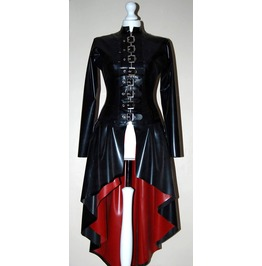 Ladies Latex Long Coat Victorian Style Long Buckle Women's Bondage Coat