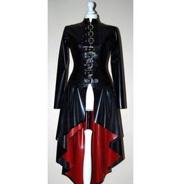 Ladies Latex Long Coat Victorian Style Long Buckle Women's Bondage Coat