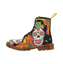 Funky Day Of The Dead Sugar Skull Canvas Boots
