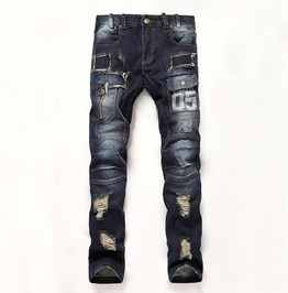 Slim Fit Ripped Distressed Stonewashed Jeans