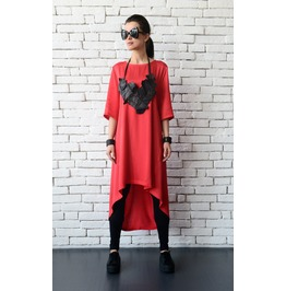 Red Loose Long Tunic/Asymmetric Plus Size Dress/Comfortable Maxi Dress