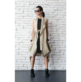 Beige Linen Asymmetric Tunic/Extravagant Loose Vest/Back Accent Maxi Tunic