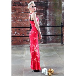 Pretty Disturbia Red Acid Wash Punk Grunge Maxi Dress