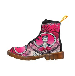 Funky Red, Pink & Black Frida Kahlo With Vintage Flowers Canvas Boots