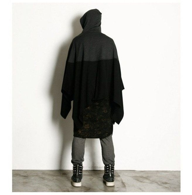 New Arrival Men's Poncho Long Loose Hooded Cloak