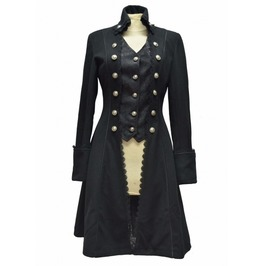 Black Gothic Long Coat For Women's Pirate Victorian Style Women Long Coat