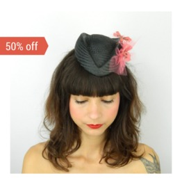 Sale! Pillbox Hat Fascinator Headpiece With Coral Pink Butterflies And Veil