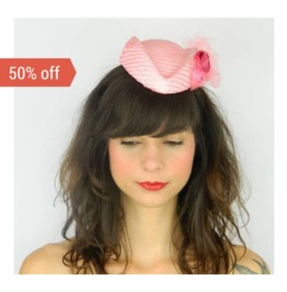 Sale! Pillbox Hat Fascinator Headpiece With Kitsch Fabric Flowers And Veil