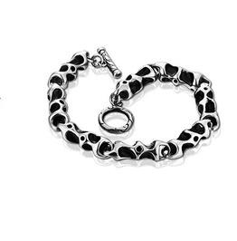 Gothic Titanium Steel Gothic Punk Fossil Bone Bracelet Xpb70189