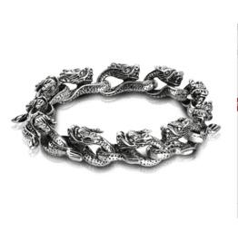 Gothic Titanium Steel Gothic Punk Dargon Heads Knots Bracelet Xpb70179