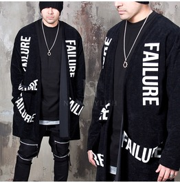 Lettering Patchwork Black Velvet Long Cardigan 91