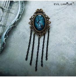 Handmade Gothic Vampire Blue Precious Stone Tassels Brooches Br 58