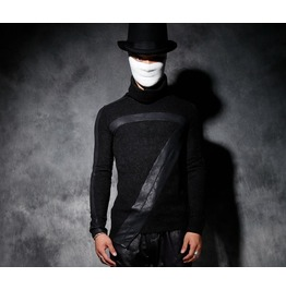 New Men's Turtle Neck Black Punk Pu Leather Long Sleeve Slim Fit T Shirt