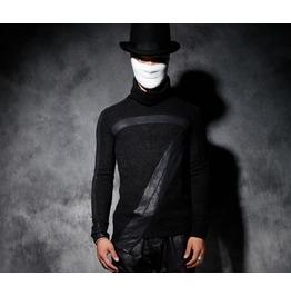 New Men's Turtle Neck Black Punk Pu Leather Long Sleeve Slim Fit T Shirt