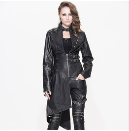 Steampunk Women Asymmetry Coat Personality Fit Pu Gothi Coats Casual Jacket