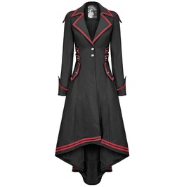 Women Steampunk Military Coat Jacket Red Black Long Gothic Military Uniform