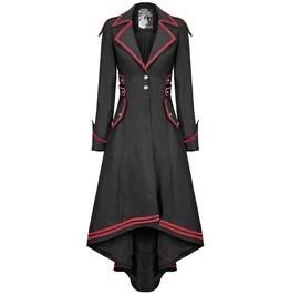 Women Steampunk Military Coat Jacket Red Black Long Gothic Military Uniform