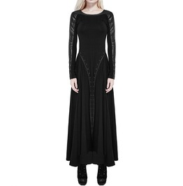 Steampunk Long Maxi Dress Women's Long Sleeve Black Gothic Dieselpunk Witch