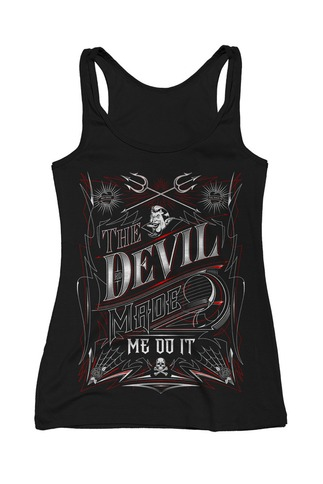 Women's The Devil Made Me Do It Skull Tank Top