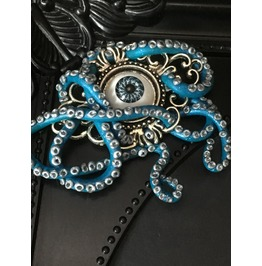 Octopus Tentacle Brooch, Octopus Pin, Blue Tentacle Pin, Evil Eye Brooch