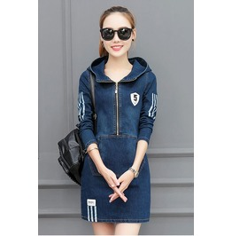 Stylish Zip Up Patched Pockets Slim Fit Hooded Denim Dress