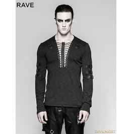 Black Chest Strap Steampunk Long Sleeve T Shirt For Men T 462 Bk