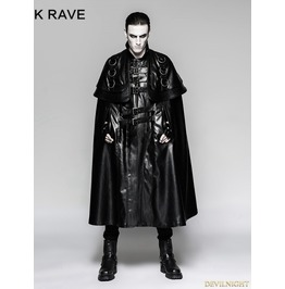 Black Long Cloak Steampunk Jacket For Men Y 747