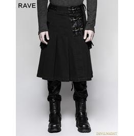 Black Steampunk Half Pleated Skirt For Men Q 319 Bk