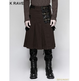 Coffee Steampunk Half Pleated Skirt For Men Q 319 Co
