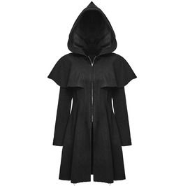 Punk Womens Hooded Coat Gothic Black Punk Rave Hoodie Coat Witch Occult Coa