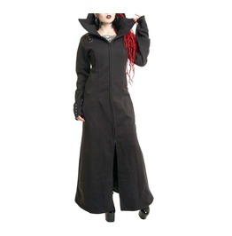 Poizen Industries Raven Coat Ladies Black Goth Emo Punk Girls Women Long Co