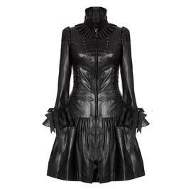 Womens Style Leather Coat Black Unique Gothic Corset Long Coat