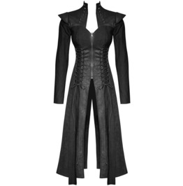 Punk Womens Jacket Long Coat Gothic Black Dieselpunk Dystopian Witch Corset